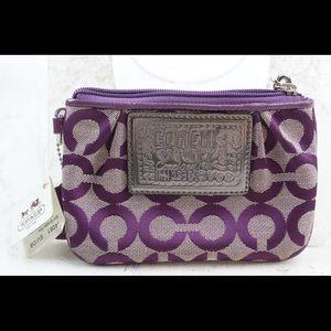 Purple Coach Wristlet/Card holder